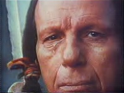 Sad crying Native American man.