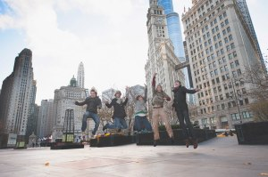 Jumping in Chicago.