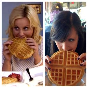 Amy Poehler and Amy Farley eat waffles the same way.