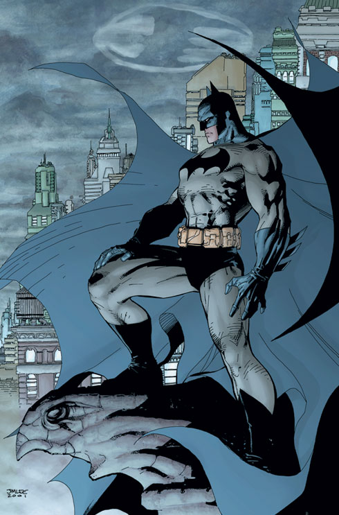 Batman overlooking Gotham City as drawn by Jim Lee